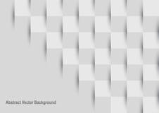 Fondo gris y blanco del cuadrado abstracto del mosaico Fotografía de archivo