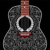 Fondo Grungy con la chitarra acustica nera Immagine Stock Libera da Diritti