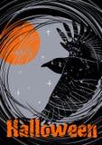 Fondo Grungy di Halloween con pilotare Raven royalty illustrazione gratis