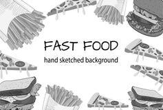 Fondo handdrawn blanco y negro del VECTOR de los alimentos de preparación rápida Fotos de archivo