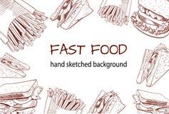 Fondo handdrawn del VECTOR del esquema de los alimentos de preparación rápida Fotografía de archivo libre de regalías