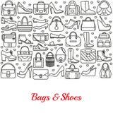 Fondo hecho de la línea iconos Bolsos y zapatos Imagen de archivo