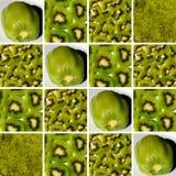 Fondo hecho de las formas cuadradas llenas de texturas del kiwi Imágenes de archivo libres de regalías