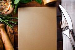 Fondo hecho en casa italiano de la comida del menú del arte; semana del restaurante Imagen de archivo libre de regalías