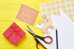 Fondo hecho a mano del Año Nuevo, visión superior Imágenes de archivo libres de regalías