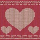 Fondo hecho punto con los corazones Imagen de archivo libre de regalías