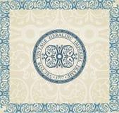 Fondo heráldico del ornamento de la escritura de la etiqueta de la vendimia