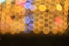 Fondo hermoso colorido del bokeh abstracto de oro ligero de la Navidad de la noche: con el espacio de la copia para añada el text Fotos de archivo