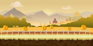 Fondo hermoso de la granja del campo para los juegos con las montañas verdes, la casa de la granja, y la cerca de madera con inco ilustración del vector