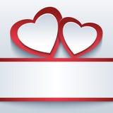 Fondo hermoso del amor con dos corazones 3d Imagen de archivo libre de regalías