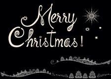 Fondo hermoso del invierno con Feliz Navidad del texto fotografía de archivo libre de regalías