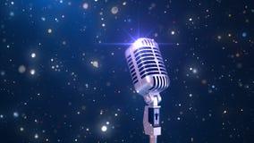 Fondo hermoso del Karaoke con un micrófono retro y partículas mágicas, animación colocada inconsútil 3d 4K metrajes