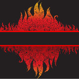 Fondo hermoso del marco del grunge del vector con el fuego