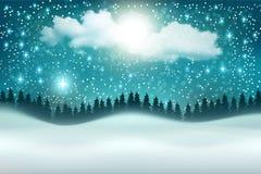 Fondo hermoso del paisaje de la noche del invierno del vector ilustración del vector