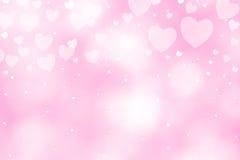 Fondo hermoso del rosa del bokeh del corazón Fotos de archivo