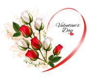 Fondo hermoso feliz del día de tarjeta del día de San Valentín con las rosas Imagenes de archivo