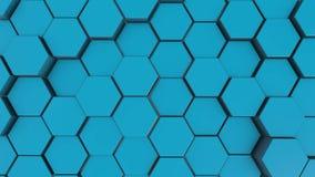 Fondo hexagonal abstracto azul del movimiento lazo incons?til, 4K ilustración del vector