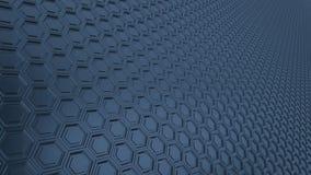 Fondo hexagonal abstracto del metal del 16:9 de la rejilla con reflexiones borrosas stock de ilustración