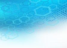 Fondo hexagonal/geométrico azul fresco abstracto Stock de ilustración