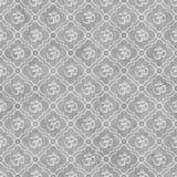 Fondo hindú gris y blanco de la repetición del modelo de la teja del símbolo de Aum Imágenes de archivo libres de regalías