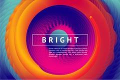 Fondo horizontal abstracto con vórtice del color Cubierta de la presentación con las líneas espirales y pendiente vibrante Imagenes de archivo