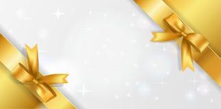 Fondo horizontal con el centro chispeante blanco y cintas de la esquina de oro con los arcos Fondo de oro de las estrellas con el stock de ilustración