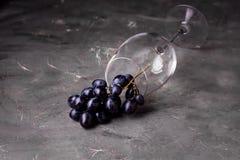 Fondo horizontal del fondo de la copa de vino y de la uva roja con la uva roja y la copa de vino Imagen de archivo