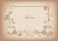 Fondo horizontal del té con el marco Imagenes de archivo