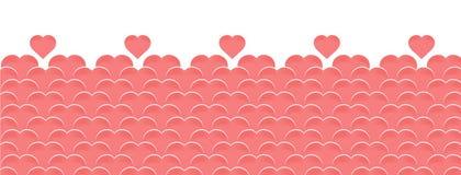 Fondo horizontal del vector a día de San Valentín feliz con los globos bajo la forma de corazones del color rosado o coralino stock de ilustración