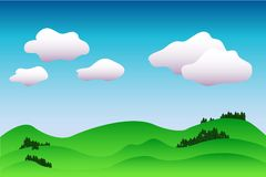 Fondo idilliaco variopinto del paesaggio nell'illustrazione blu e verde, pacifica con il posto per testo Immagine Stock