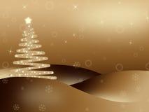 Fondo iluminated de oro de la Navidad Foto de archivo libre de regalías