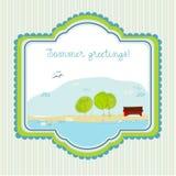 Fondo ilustrado Doodle del verano Imagen de archivo libre de regalías