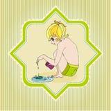 Fondo ilustrado Doodle del verano Foto de archivo libre de regalías