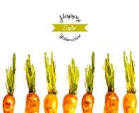 Fondo ilustrado vector de las zanahorias de Pascua de la acuarela Imagen de archivo