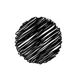 Fondo impreciso dello scarabocchio del cerchio astratto nero, progettazione di vettore illustrazione di stock