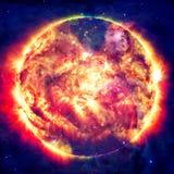 Fondo impressionante - pianeti in spazio, nebulose e stelle Immagini Stock Libere da Diritti