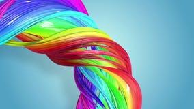 Fondo incons?til abstracto con las cintas multicoloras Las rayas del arco iris se est?n moviendo en un c?rculo y torcer stock de ilustración