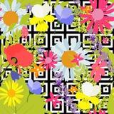 Fondo inconsútil abstracto del modelo del verano con las hojas de palma y las flores Ilustración del vector libre illustration