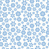 Fondo inconsútil azul con los copos de nieve, Foto de archivo libre de regalías