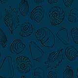 Fondo inconsútil azul de las conchas marinas Imagen de archivo libre de regalías