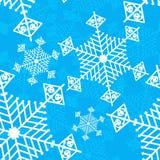 Fondo inconsútil azul del vector del copo de nieve Foto de archivo