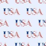 Fondo inconsútil bajo la forma de ` de los E.E.U.U. del ` del texto, patriótico Vector Imagen de archivo libre de regalías