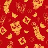 Fondo inconsútil chino del modelo del papel pintado del Año Nuevo Imagen de archivo