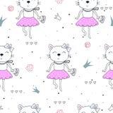 Fondo inconsútil colorido del modelo de los gatos lindos Fotografía de archivo libre de regalías
