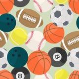 Fondo inconsútil con el diferente tipo de bolas del deporte Imagen de archivo