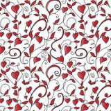 Fondo inconsútil con el ornamento de los corazones Ilustración del Vector
