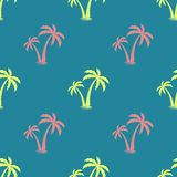 Fondo inconsútil con la imagen de palmeras Vector Modelo simple Fondo del verano Ilustración del vector Fotos de archivo libres de regalías