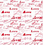 Fondo inconsútil con la inscripción del amor. fotos de archivo libres de regalías