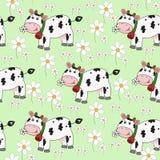 Fondo inconsútil con la vaca divertida Foto de archivo
