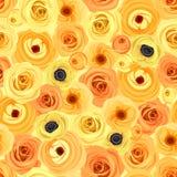 Fondo inconsútil con las flores anaranjadas y amarillas Ilustración del vector Imagenes de archivo